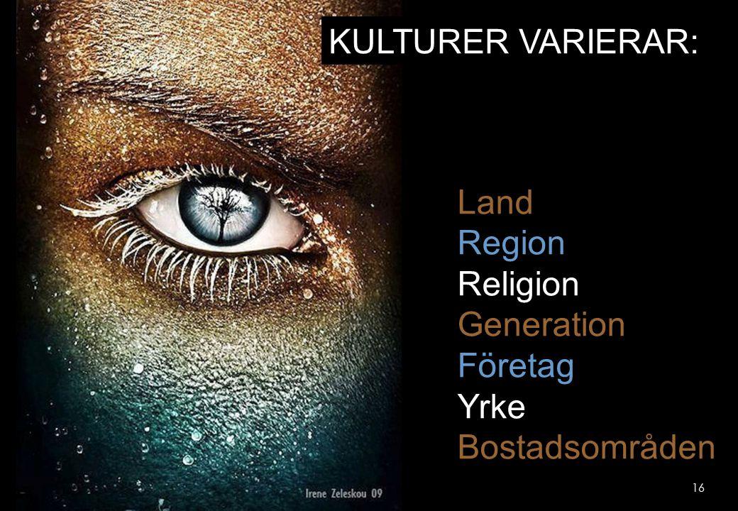 16 KULTURER VARIERAR: Land Region Religion Generation Företag Yrke Bostadsområden