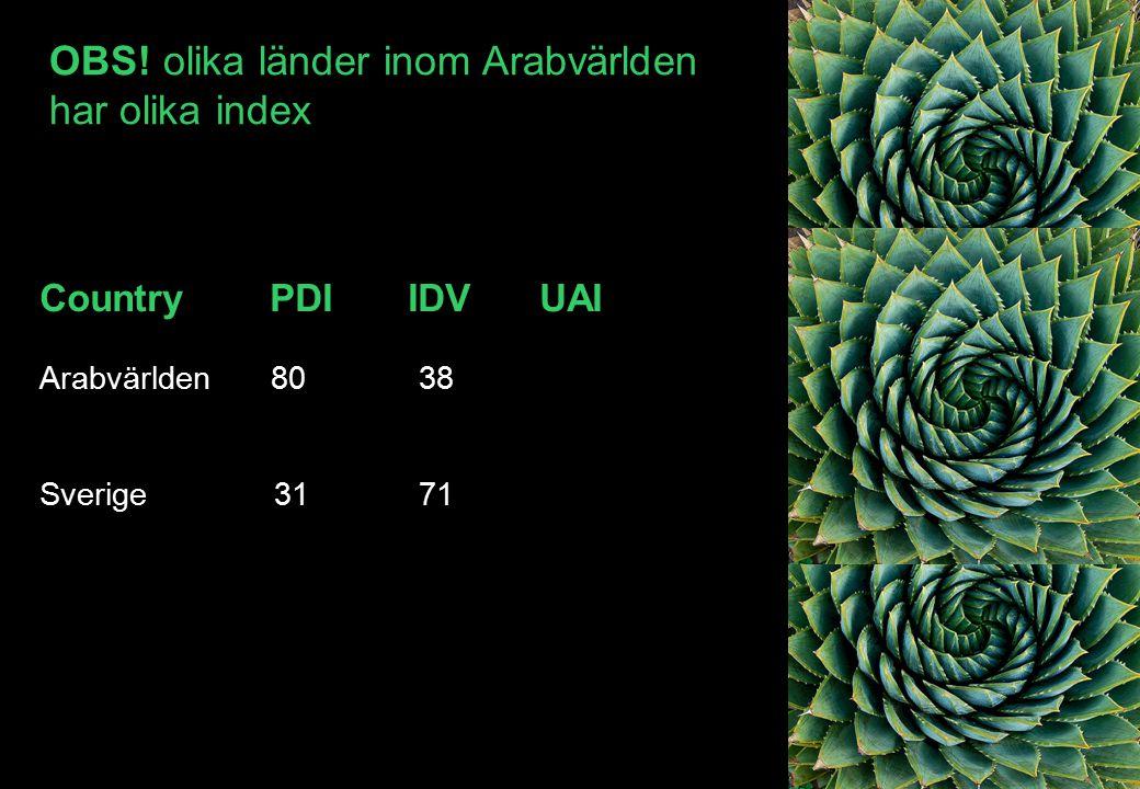Country PDI IDV UAI Arabvärlden 80 38 Sverige 31 71 OBS! olika länder inom Arabvärlden har olika index
