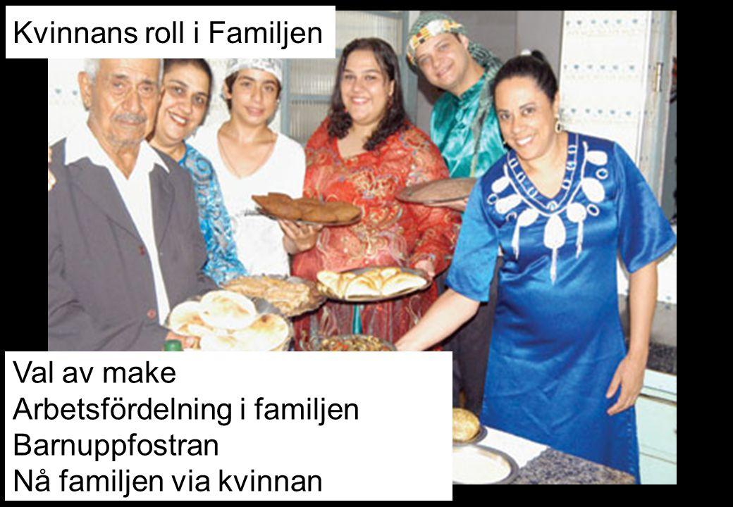 Val av make Arbetsfördelning i familjen Barnuppfostran Nå familjen via kvinnan Kvinnans roll i Familjen