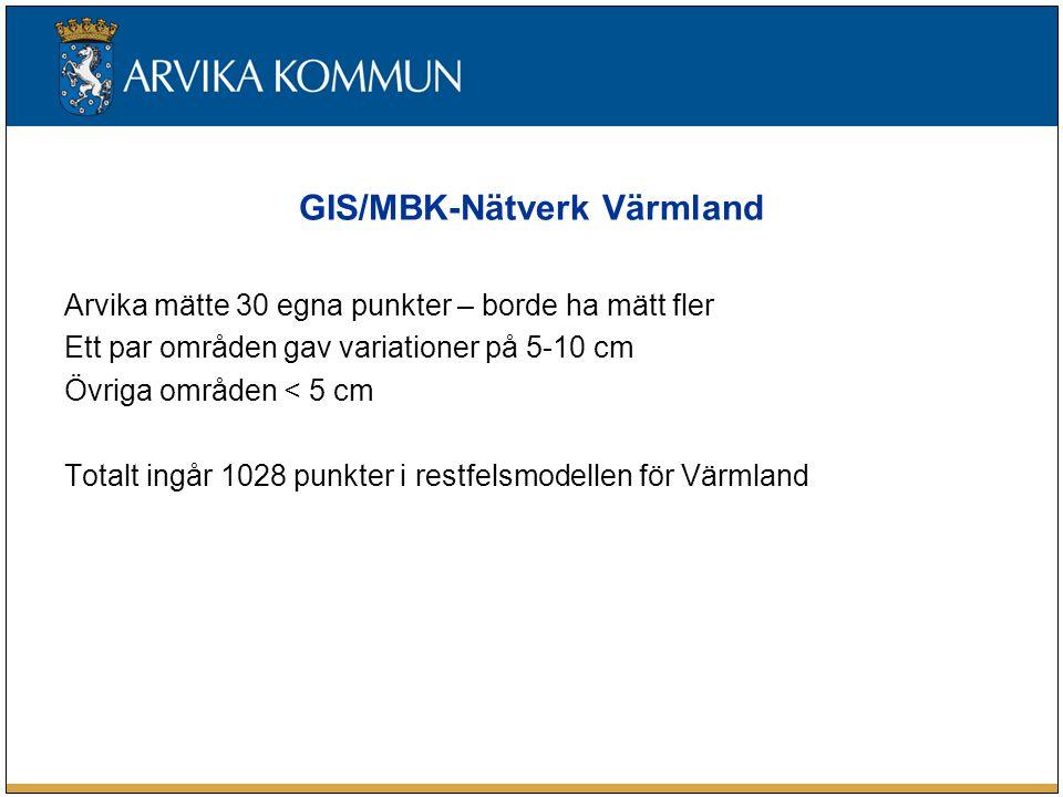 GIS/MBK-Nätverk Värmland Arvika mätte 30 egna punkter – borde ha mätt fler Ett par områden gav variationer på 5-10 cm Övriga områden < 5 cm Totalt ing