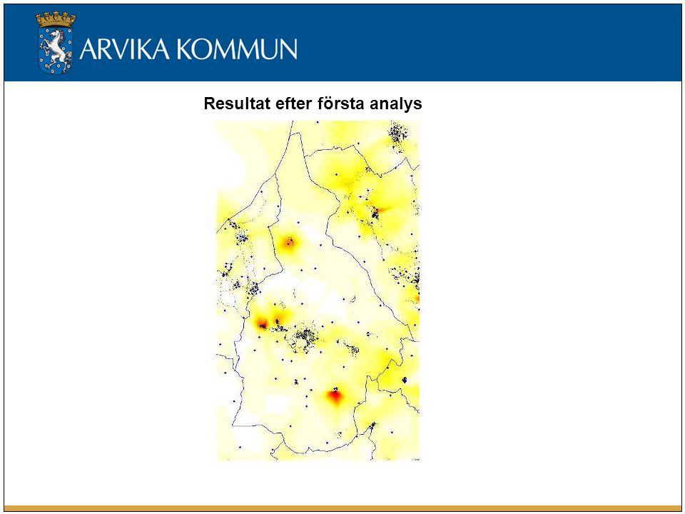 Resultat efter första analys