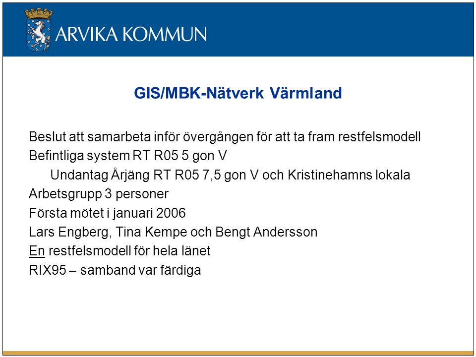 GIS/MBK-Nätverk Värmland Beslut att samarbeta inför övergången för att ta fram restfelsmodell Befintliga system RT R05 5 gon V Undantag Årjäng RT R05