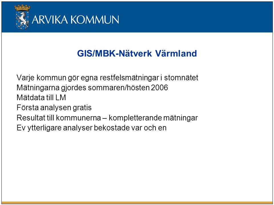 GIS/MBK-Nätverk Värmland Varje kommun gör egna restfelsmätningar i stomnätet Mätningarna gjordes sommaren/hösten 2006 Mätdata till LM Första analysen gratis Resultat till kommunerna – kompletterande mätningar Ev ytterligare analyser bekostade var och en