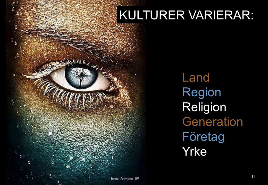 11 KULTURER VARIERAR: Land Region Religion Generation Företag Yrke