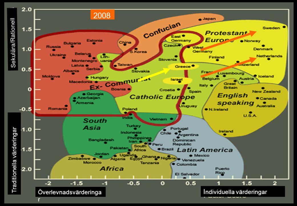 Traditionella värderingar Sekulära/Rationell I ndividuella värderingar Överlevnadsvärderinga r 2008