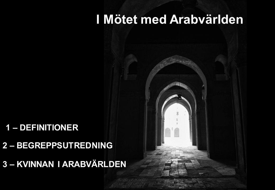 2 – BEGREPPSUTREDNING I Mötet med Arabvärlden 3 – KVINNAN I ARABVÄRLDEN 1 – DEFINITIONER