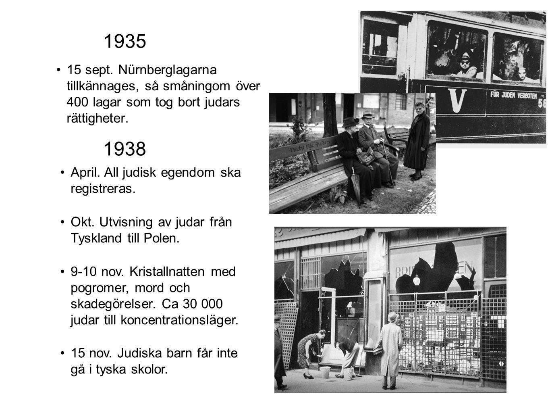 1935 15 sept. Nürnberglagarna tillkännages, så småningom över 400 lagar som tog bort judars rättigheter. 1938 April. All judisk egendom ska registrera