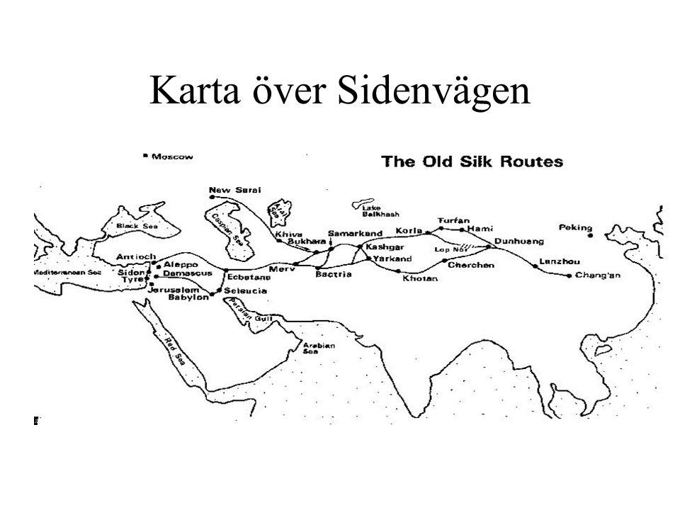 Sidenvägen i sammanfattning - Två storhetsperioder: Han (206 f.Kr-220) och Tang (618-907) - Första kontakterna västerut togs när Sidenvägen öppnades under Han- dynastin - och västvärlden nåddes av siden drygt 2100 år före vår tid.