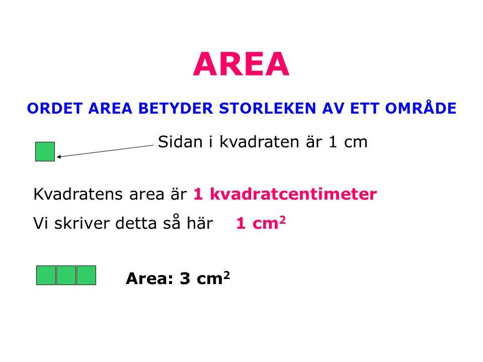 AREA ORDET AREA BETYDER STORLEKEN AV ETT OMRÅDE Sidan i kvadraten är 1 cm Kvadratens area är 1 kvadratcentimeter Vi skriver detta så här 1 cm 2 Area: