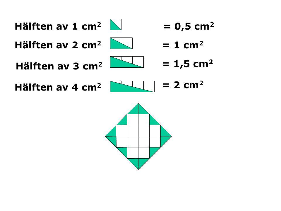 Hälften av 1 cm 2 Hälften av 2 cm 2 Hälften av 3 cm 2 Hälften av 4 cm 2 = 0,5 cm 2 = 1 cm 2 = 1,5 cm 2 = 2 cm 2
