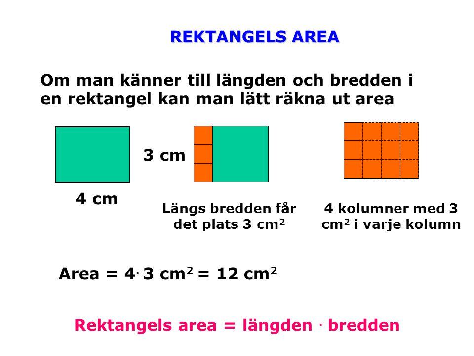REKTANGELS AREA Om man känner till längden och bredden i en rektangel kan man lätt räkna ut area 4 cm 3 cm Längs bredden får det plats 3 cm 2 4 kolumn