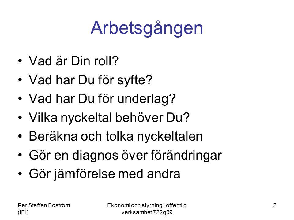 Per Staffan Boström (IEI) Ekonomi och styrning i offentlig verksamhet 722g39 3 Olika analyser har olika (primära) syften Ekonomiska och finansiella nyckeltal; för att tillgodose externa intressen för att antingen konsolidera eller expandera för att värdera Produktivitets- effektivitetsanalyser; för att styra verksamheten