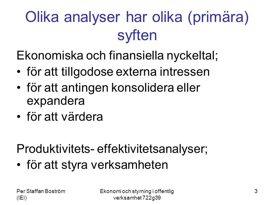 Per Staffan Boström (IEI) Ekonomi och styrning i offentlig verksamhet 722g39 3 Olika analyser har olika (primära) syften Ekonomiska och finansiella ny