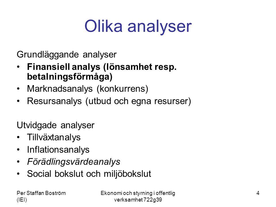 Per Staffan Boström (IEI) Ekonomi och styrning i offentlig verksamhet 722g39 4 Olika analyser Grundläggande analyser Finansiell analys (lönsamhet resp