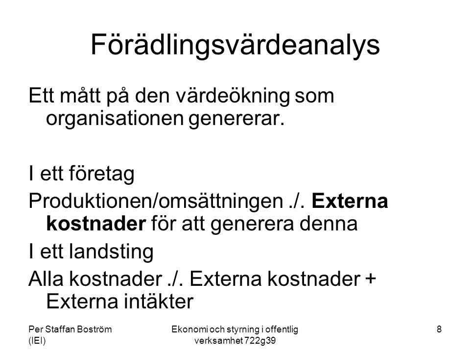 Per Staffan Boström (IEI) Ekonomi och styrning i offentlig verksamhet 722g39 8 Förädlingsvärdeanalys Ett mått på den värdeökning som organisationen genererar.