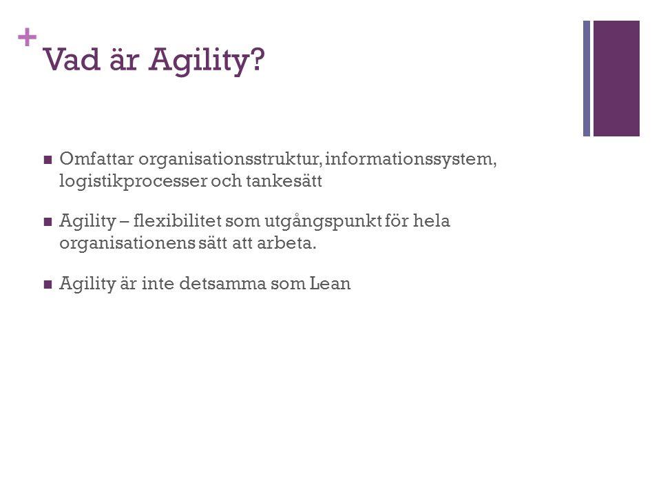 + Vad är Agility? Omfattar organisationsstruktur, informationssystem, logistikprocesser och tankesätt Agility – flexibilitet som utgångspunkt för hela