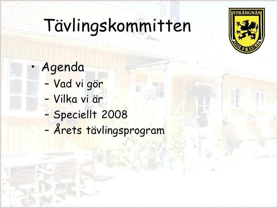 Tävlingskommitten Agenda –Vad vi gör –Vilka vi är –Speciellt 2008 –Årets tävlingsprogram