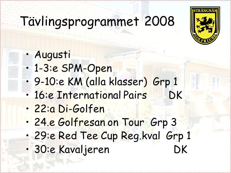 Tävlingsprogrammet 2008 Augusti 1-3:e SPM-Open 9-10:e KM (alla klasser) Grp 1 16:e International Pairs DK 22:a Di-Golfen 24.e Golfresan on Tour Grp 3 29:e Red Tee Cup Reg.kval Grp 1 30:e Kavaljeren DK