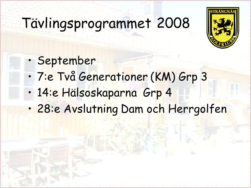 Tävlingsprogrammet 2008 September 7:e Två Generationer (KM) Grp 3 14:e Hälsoskaparna Grp 4 28:e Avslutning Dam och Herrgolfen
