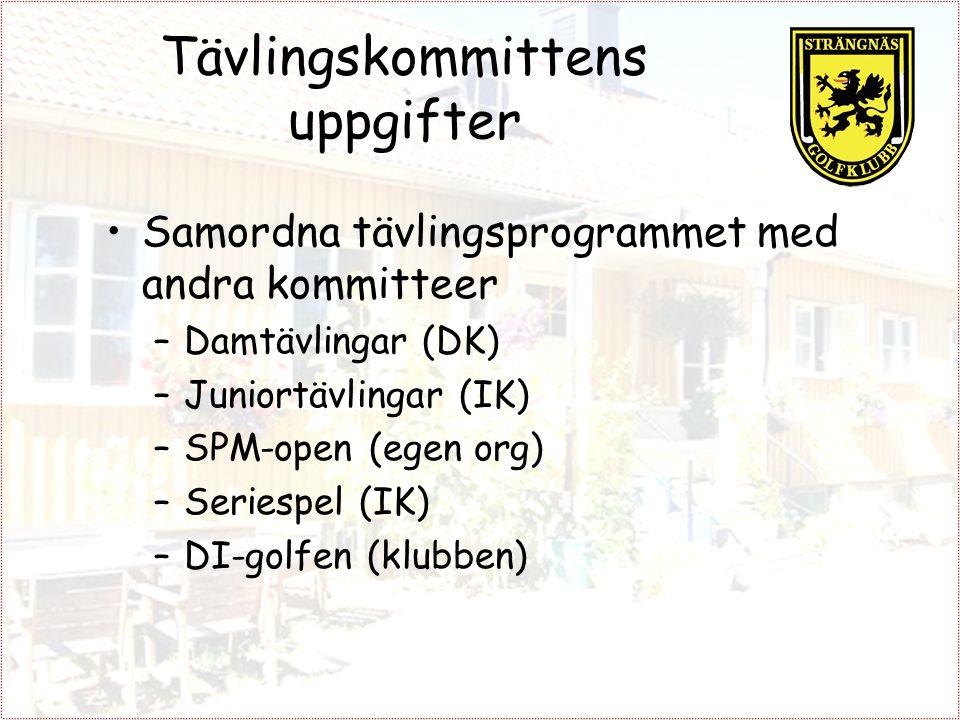 Tävlingskommittens uppgifter Samordna tävlingsprogrammet med andra kommitteer –Damtävlingar (DK) –Juniortävlingar (IK) –SPM-open (egen org) –Seriespel (IK) –DI-golfen (klubben)