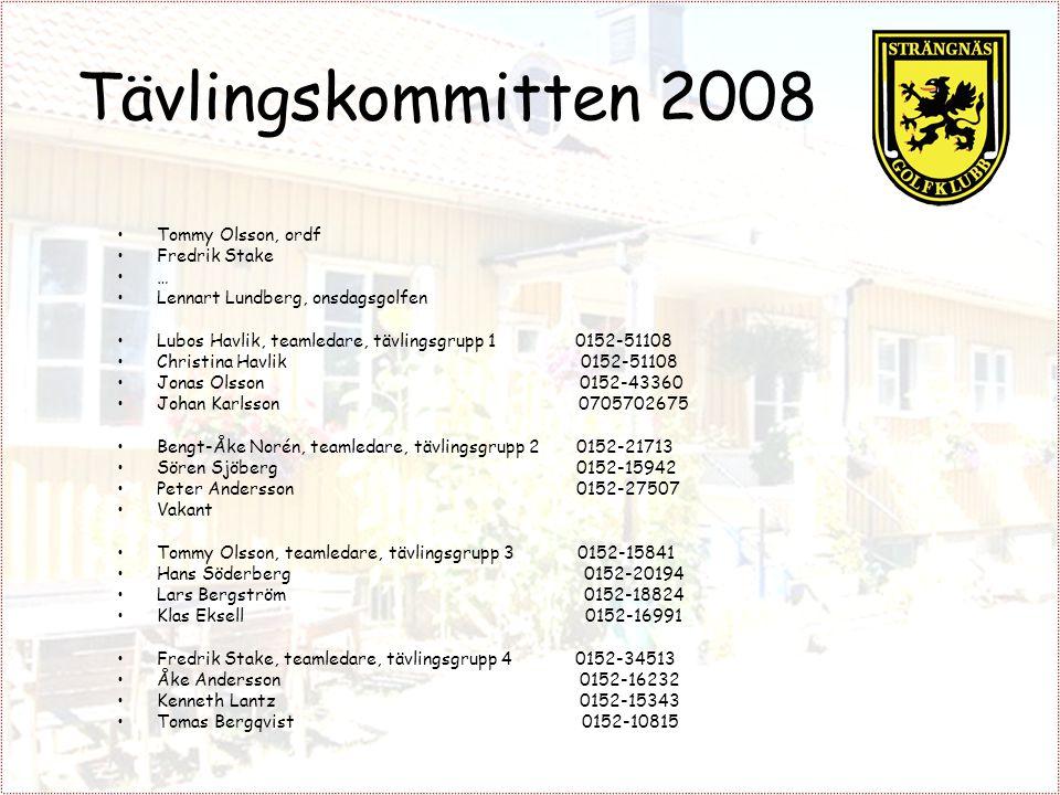 Tävlingskommitten 2008 Tommy Olsson, ordf Fredrik Stake … Lennart Lundberg, onsdagsgolfen Lubos Havlik, teamledare, tävlingsgrupp 1 0152-51108 Christi