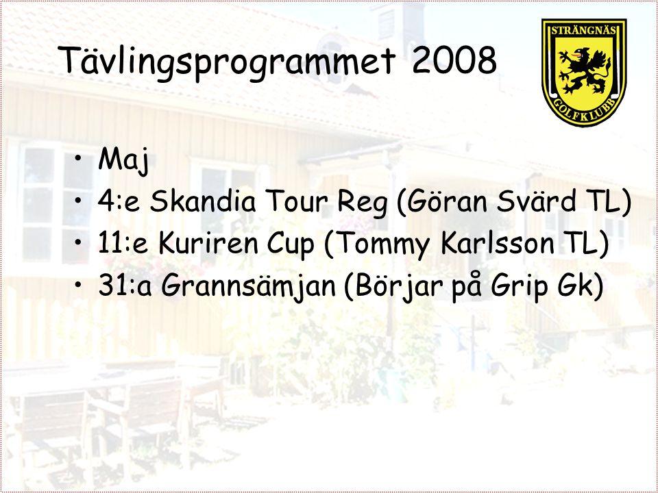 Tävlingsprogrammet 2008 Maj 4:e Skandia Tour Reg (Göran Svärd TL) 11:e Kuriren Cup (Tommy Karlsson TL) 31:a Grannsämjan (Börjar på Grip Gk)