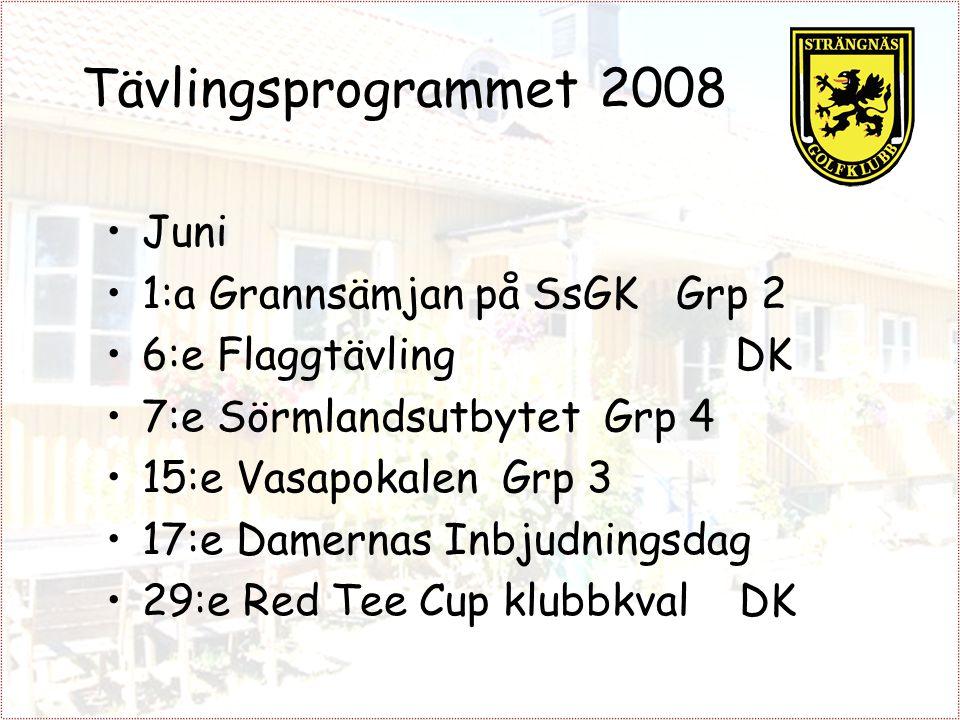 Tävlingsprogrammet 2008 Juni 1:a Grannsämjan på SsGK Grp 2 6:e Flaggtävling DK 7:e Sörmlandsutbytet Grp 4 15:e Vasapokalen Grp 3 17:e Damernas Inbjudningsdag 29:e Red Tee Cup klubbkval DK
