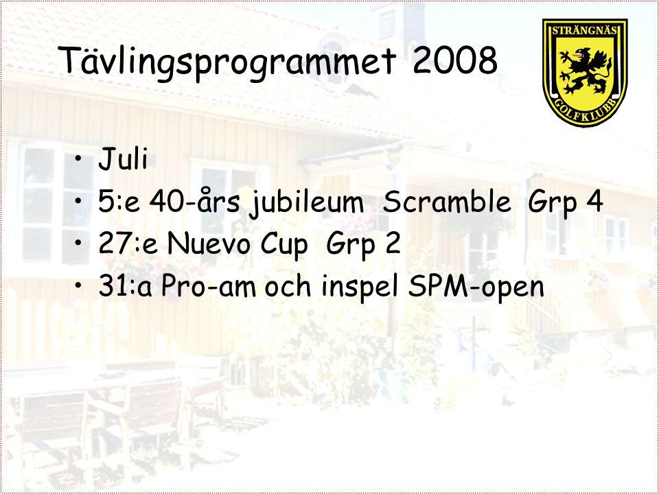 Tävlingsprogrammet 2008 Juli 5:e 40-års jubileum Scramble Grp 4 27:e Nuevo Cup Grp 2 31:a Pro-am och inspel SPM-open