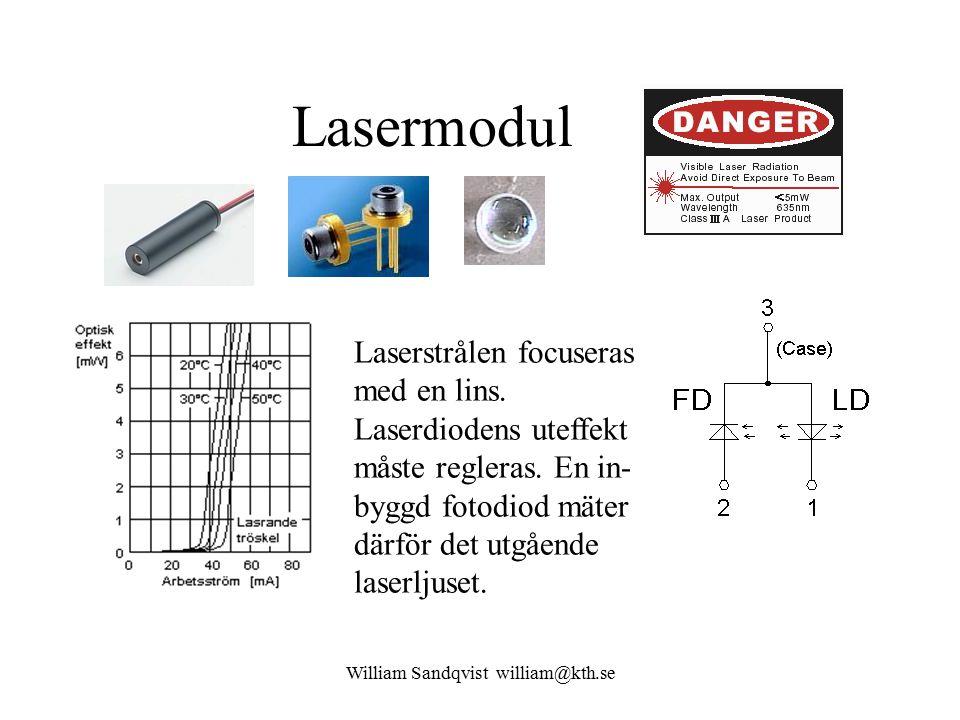 William Sandqvist william@kth.se Lasermodul Laserstrålen focuseras med en lins.