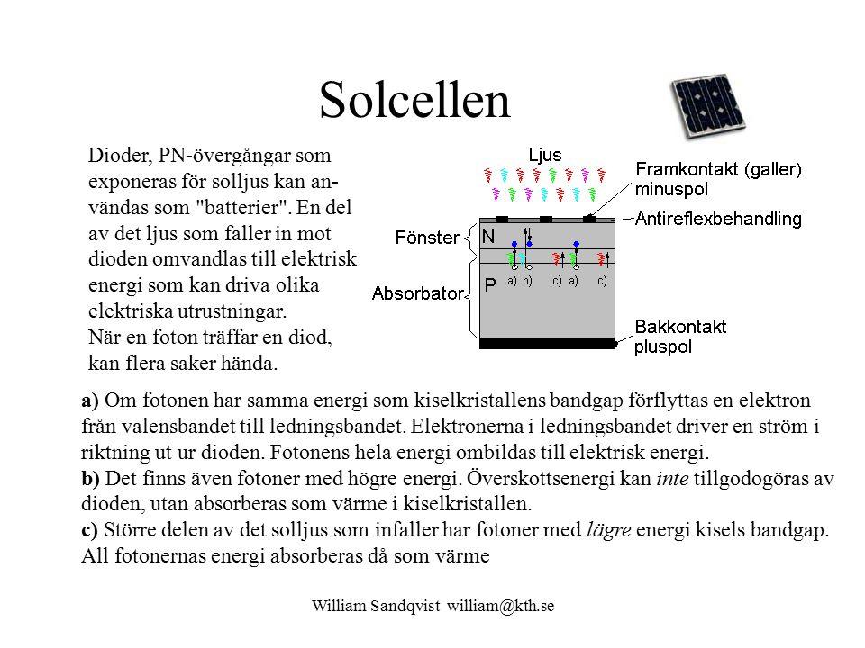 William Sandqvist william@kth.se Solcellen a) Om fotonen har samma energi som kiselkristallens bandgap förflyttas en elektron från valensbandet till ledningsbandet.