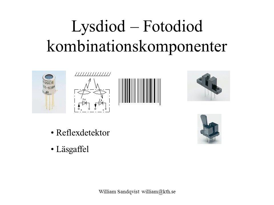 William Sandqvist william@kth.se Lysdiod – Fotodiod kombinationskomponenter Reflexdetektor Läsgaffel
