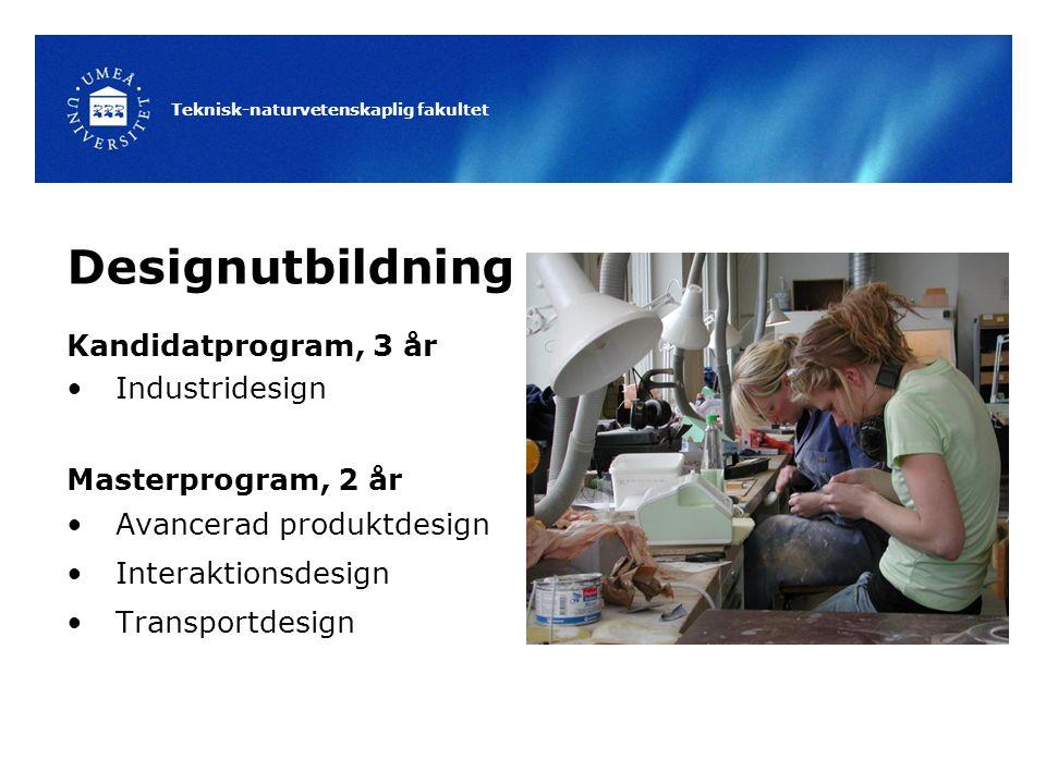 Teknisk-naturvetenskaplig fakultet Designutbildning Kandidatprogram, 3 år Industridesign Masterprogram, 2 år Avancerad produktdesign Interaktionsdesign Transportdesign