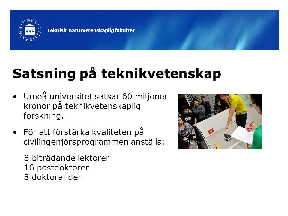 Teknisk-naturvetenskaplig fakultet Satsning på teknikvetenskap Umeå universitet satsar 60 miljoner kronor på teknikvetenskaplig forskning. För att för