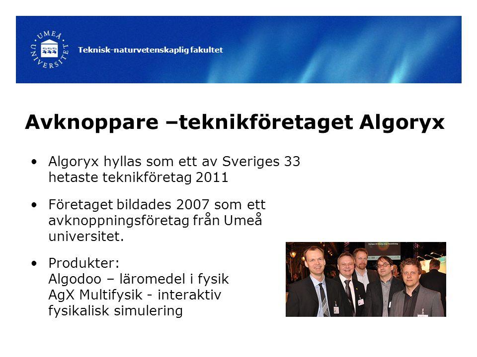 Teknisk-naturvetenskaplig fakultet Avknoppare –teknikföretaget Algoryx Algoryx hyllas som ett av Sveriges 33 hetaste teknikföretag 2011 Företaget bildades 2007 som ett avknoppningsföretag från Umeå universitet.