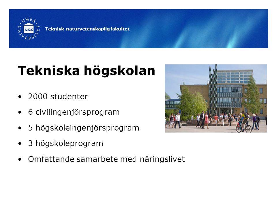 Teknisk-naturvetenskaplig fakultet Tekniska högskolan 2000 studenter 6 civilingenjörsprogram 5 högskoleingenjörsprogram 3 högskoleprogram Omfattande samarbete med näringslivet