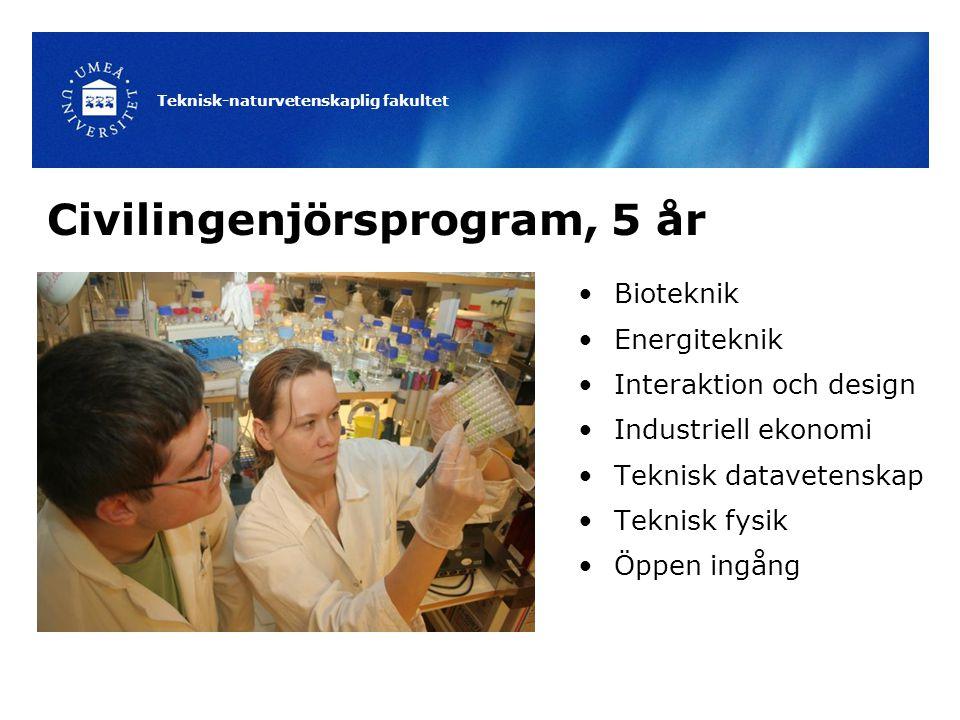 Teknisk-naturvetenskaplig fakultet Civilingenjörsprogram, 5 år Bioteknik Energiteknik Interaktion och design Industriell ekonomi Teknisk datavetenskap