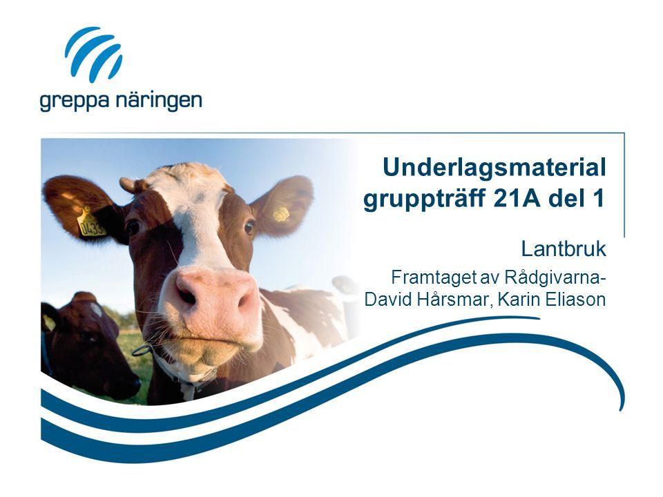 Underlagsmaterial gruppträff 21A del 1 Lantbruk Framtaget av Rådgivarna- David Hårsmar, Karin Eliason