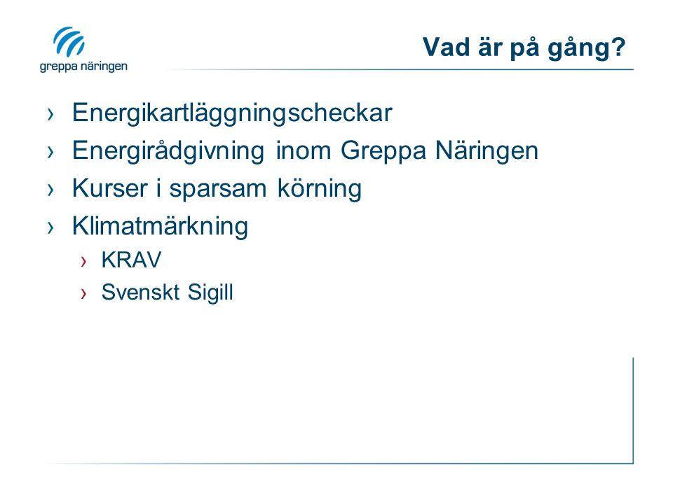 Vad är på gång? ›Energikartläggningscheckar ›Energirådgivning inom Greppa Näringen ›Kurser i sparsam körning ›Klimatmärkning ›KRAV ›Svenskt Sigill