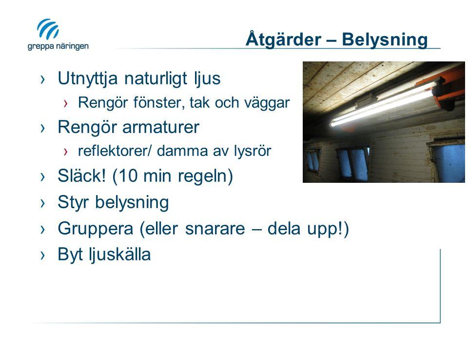 Åtgärder – Belysning ›Utnyttja naturligt ljus ›Rengör fönster, tak och väggar ›Rengör armaturer ›reflektorer/ damma av lysrör ›Släck! (10 min regeln)