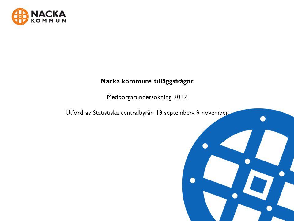 Nacka kommuns tilläggsfrågor Medborgarundersökning 2012 Utförd av Statistiska centralbyrån 13 september- 9 november