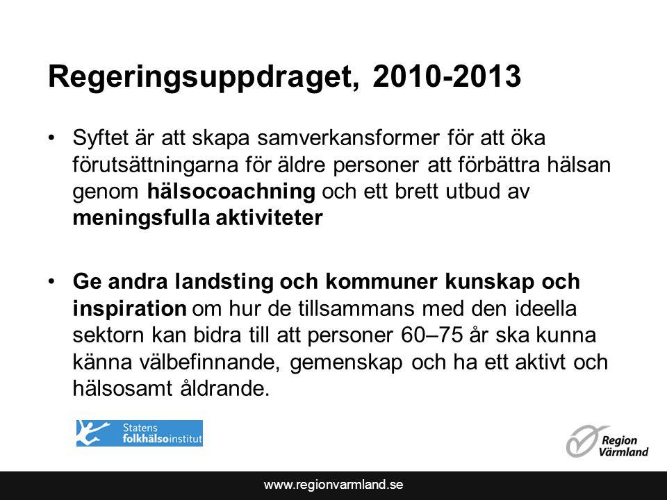 www.regionvarmland.se Regeringsuppdraget, 2010-2013 Syftet är att skapa samverkansformer för att öka förutsättningarna för äldre personer att förbättr