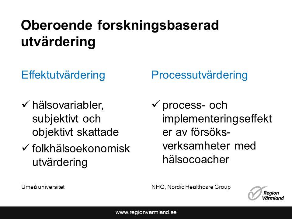 www.regionvarmland.se Oberoende forskningsbaserad utvärdering Effektutvärdering hälsovariabler, subjektivt och objektivt skattade folkhälsoekonomisk u