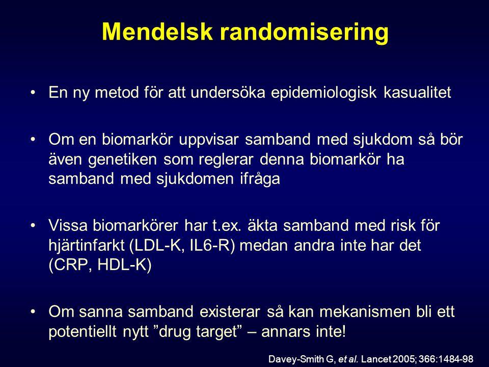 Mendelsk randomisering En ny metod för att undersöka epidemiologisk kasualitet Om en biomarkör uppvisar samband med sjukdom så bör även genetiken som reglerar denna biomarkör ha samband med sjukdomen ifråga Vissa biomarkörer har t.ex.