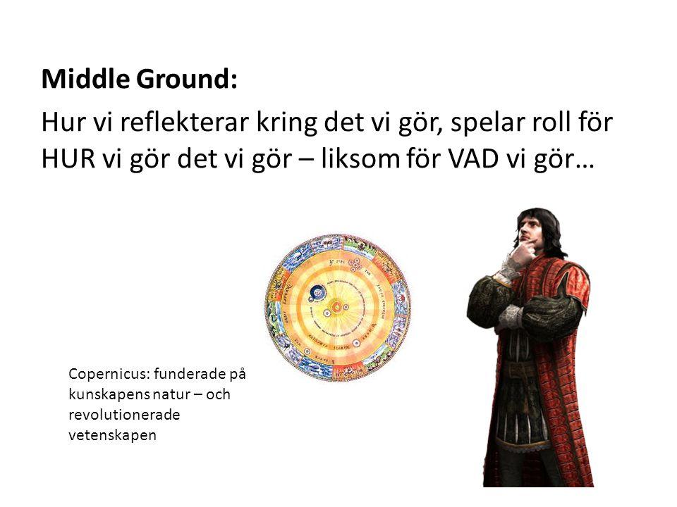 Middle Ground: Hur vi reflekterar kring det vi gör, spelar roll för HUR vi gör det vi gör – liksom för VAD vi gör… Copernicus: funderade på kunskapens natur – och revolutionerade vetenskapen