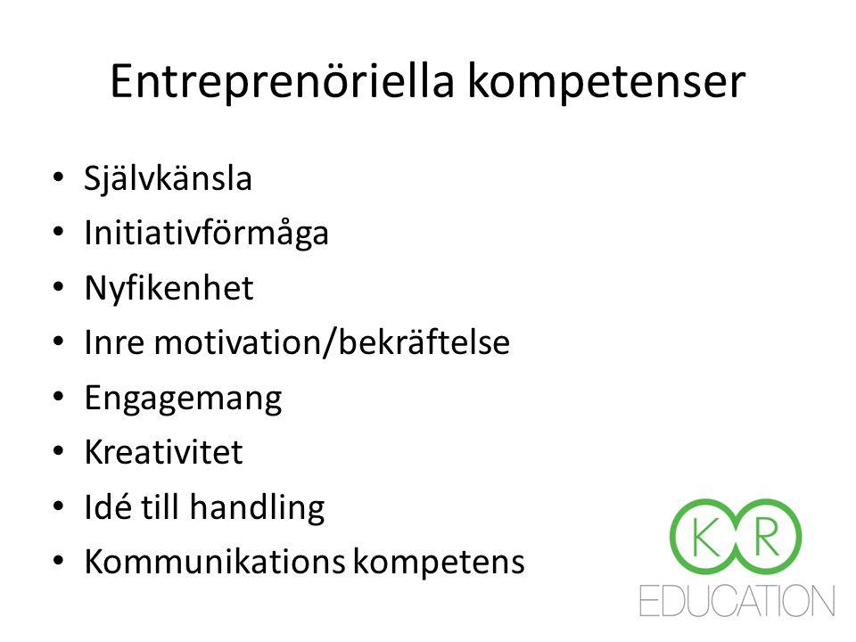 Entreprenöriella kompetenser Självkänsla Initiativförmåga Nyfikenhet Inre motivation/bekräftelse Engagemang Kreativitet Idé till handling Kommunikations kompetens