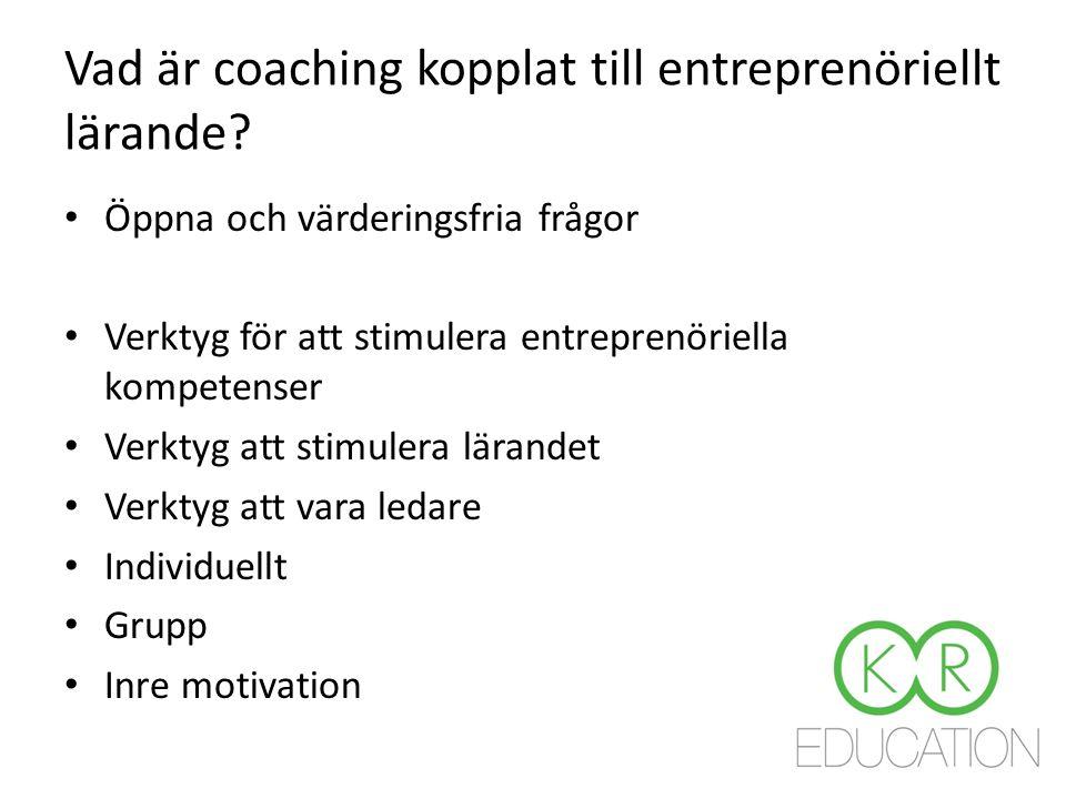 Vad är coaching kopplat till entreprenöriellt lärande.