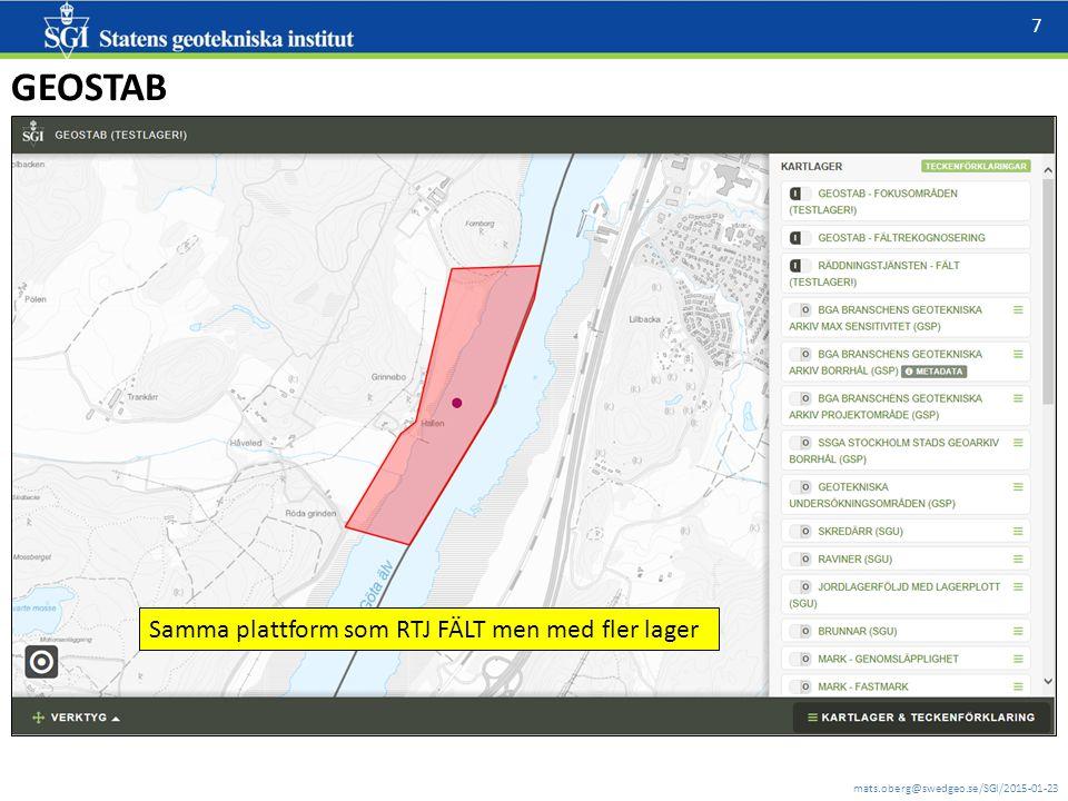 mats.oberg@swedgeo.se/SGI/2015-01-23 7 GEOSTAB Samma plattform som RTJ FÄLT men med fler lager