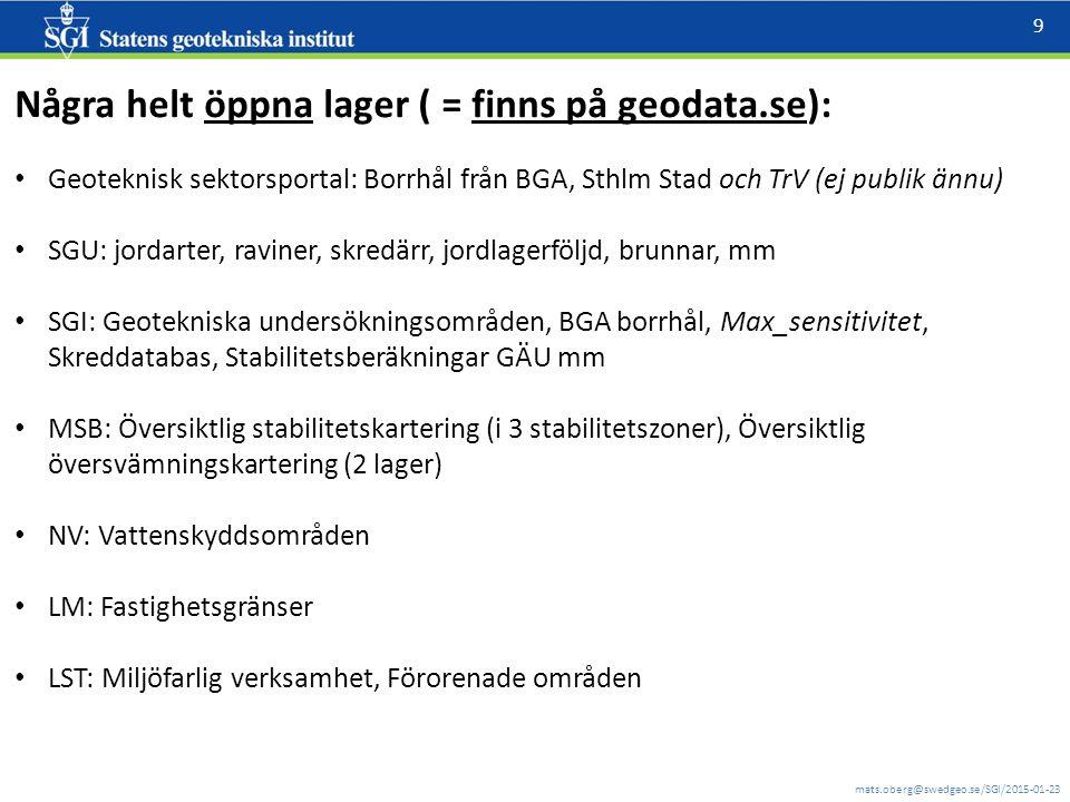 mats.oberg@swedgeo.se/SGI/2015-01-23 9 Några helt öppna lager ( = finns på geodata.se): Geoteknisk sektorsportal: Borrhål från BGA, Sthlm Stad och TrV (ej publik ännu) SGU: jordarter, raviner, skredärr, jordlagerföljd, brunnar, mm SGI: Geotekniska undersökningsområden, BGA borrhål, Max_sensitivitet, Skreddatabas, Stabilitetsberäkningar GÄU mm MSB: Översiktlig stabilitetskartering (i 3 stabilitetszoner), Översiktlig översvämningskartering (2 lager) NV: Vattenskyddsområden LM: Fastighetsgränser LST: Miljöfarlig verksamhet, Förorenade områden