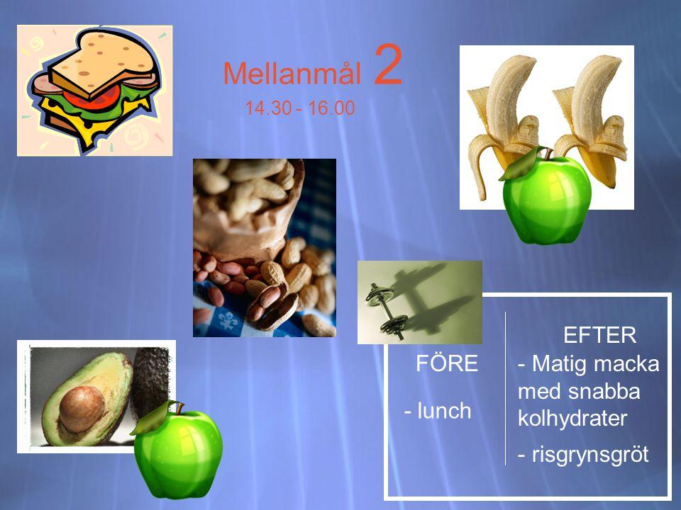 Mellanmål 2 14.30 - 16.00 FÖRE EFTER - lunch - Matig macka med snabba kolhydrater - risgrynsgröt