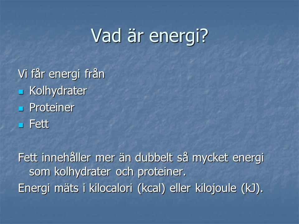 Hur mycket energi behöver vi.Det beror på kön, ålder och hur mycket du rör på dig.